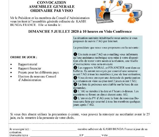 Modalités pour l' Assemblée Générale par visioconférence du 5 juillet 220