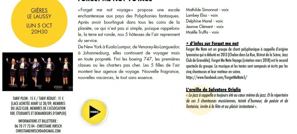 Concert Jazz du 05 octobre salle du Laussy Gières